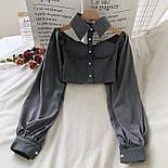 Жіноча блуза бюстьє з чокером - коміром і рукавами-ліхтариками (р. 42-44) 6813408, фото 4