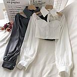 Жіноча блуза бюстьє з чокером - коміром і рукавами-ліхтариками (р. 42-44) 6813408, фото 5