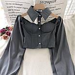Жіноча блуза бюстьє з чокером - коміром і рукавами-ліхтариками (р. 42-44) 6813408, фото 8