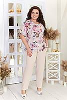 Брючный костюм женский Большого размера, Костюм брючный больших размеров,  Летний нарядный брючный костюм большого размера, фото 2