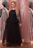 Шикарное вечернее платье в пол Черное Большого размера
