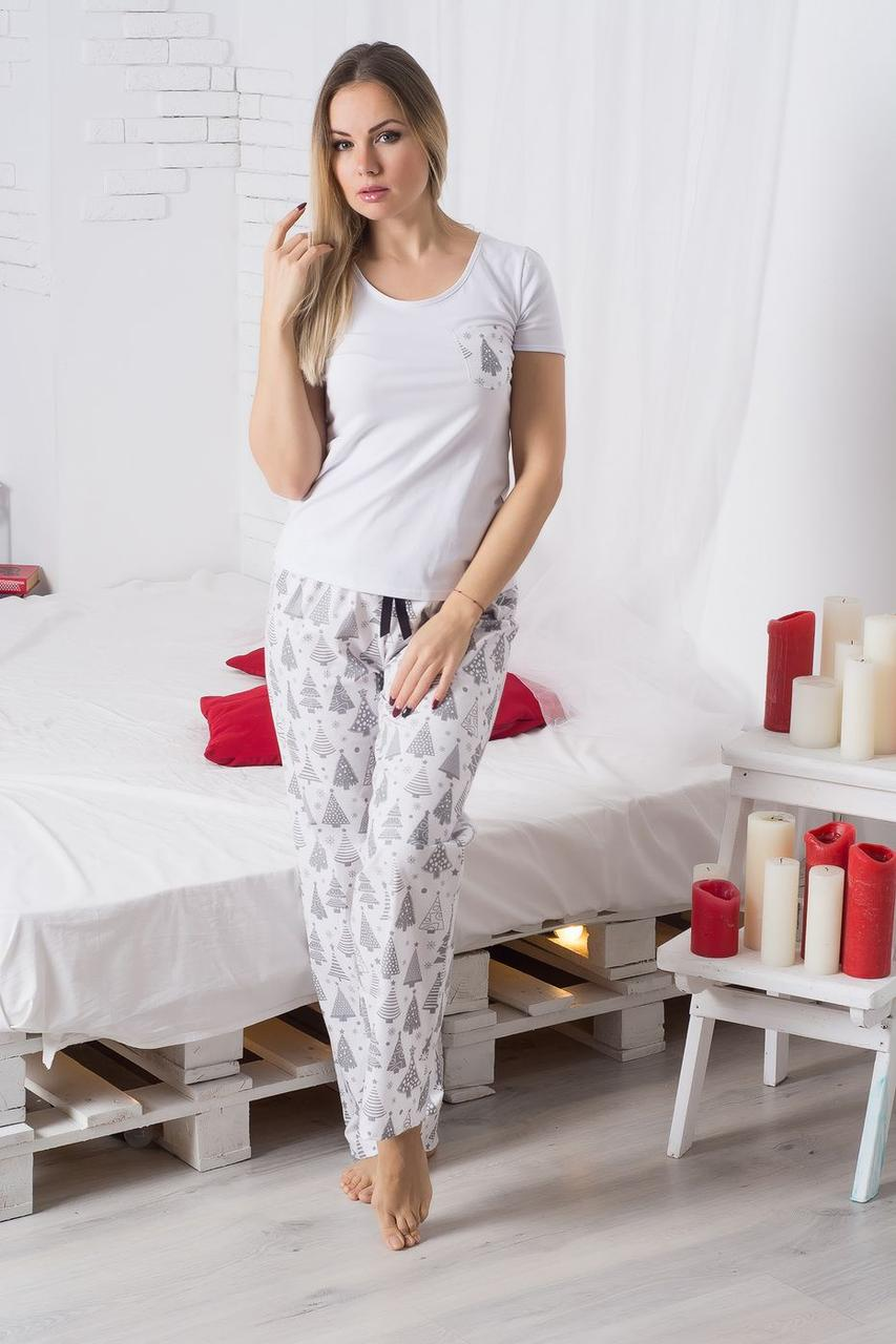 Пижама хлопковая Елочки на белом