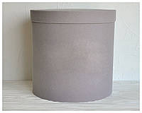 Бархатная круглая коробка для цветов d=25 h=25 см оптом, фото 1