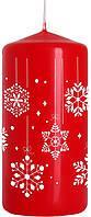 Свеча снежинка 50х100мм цвет красный металлик парафиновая цилиндрическая снежинка