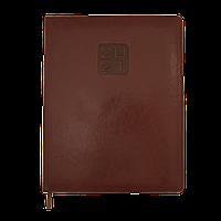 Еженедельник датированный в линию Buromax 2021 Bravo Soft, 136 страниц, A4 тёмно-коричневый