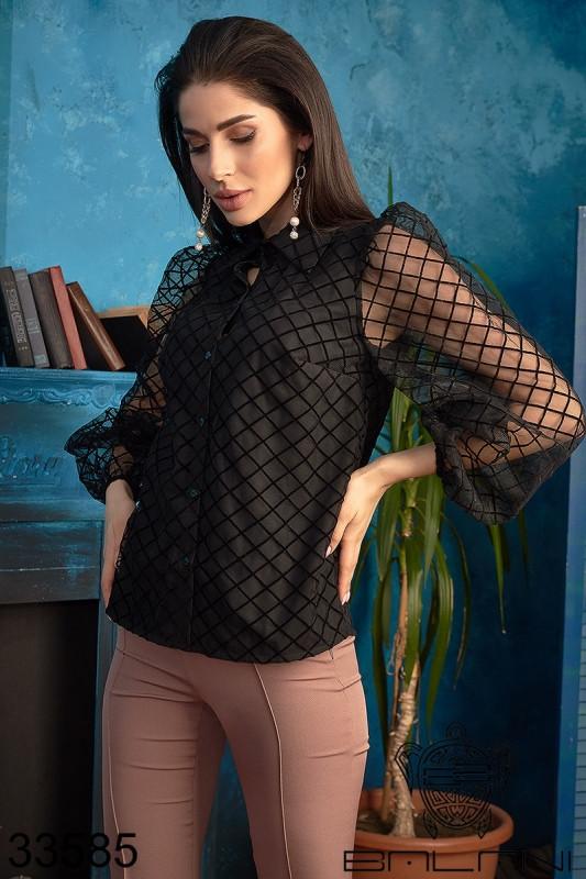 Блуза черная длинный рукав сетка ромбы