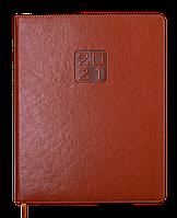 Еженедельник датированный в линию Buromax 2021 Bravo Soft, 136 страниц, A4 коньячный