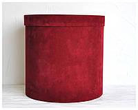 Бархатная круглая коробка d=31 h=25 см оптом, фото 1