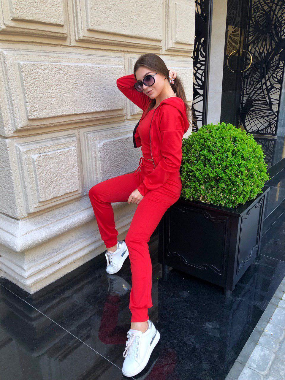 Костюм женский тройка бомбер+топ+штаны трикотаж Красный