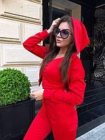 Костюм женский тройка бомбер+топ+штаны трикотаж Красный, фото 2