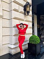 Костюм женский тройка бомбер+топ+штаны трикотаж Красный, фото 3