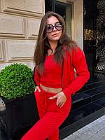 Костюм женский тройка бомбер+топ+штаны трикотаж Красный, фото 4