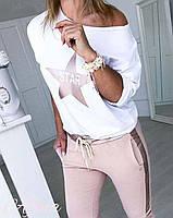 Модный летний спортивный костюм кофта на одно плече Большой размер, фото 3