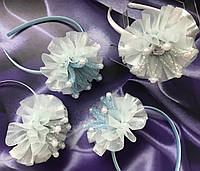 Обруч Коронка голубая с перламутровой юбочкой для девочки