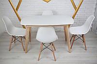 Комплект кухонной мебели Wood Light Винцензо 100 белый прямоугольный стол + 4 стула