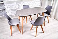 Комплект кухонной мебели Wood Light Винцензо Премиум 120 гранит серый прямоугольный стол + 4 стула