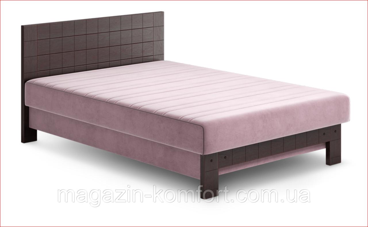 Ліжко Ора-2 з цільним високим узголів'ям з натурального дерева