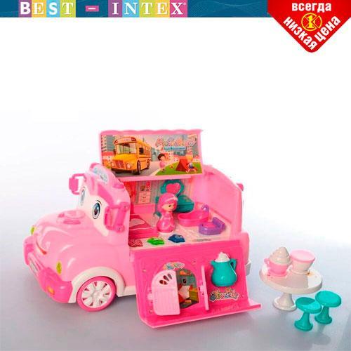 Детский игровой набор Bambi BT-2223E-1 Автобус с мебелью Розовый