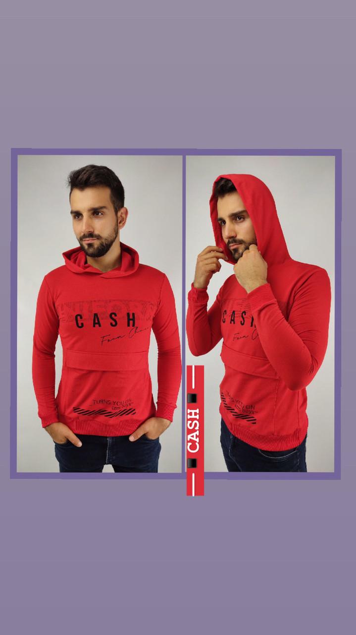 Батник мужской красный с капюшоном BA0297, двунитка, S, M, L, XL, XXL
