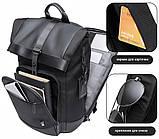 Рюкзак роллтоп Bange BG-G66 отделение для ноутбука планшета влагозащищенный черный 30 л, фото 6