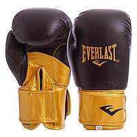 Перчатки боксерские кожаные EVERLAST Натуральная кожа На липучке Черный-золотой (СПО MA-6750) 10 унций, фото 1