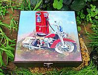 Шкатулка купюрница двойная  Мотоцикл  103 ШД