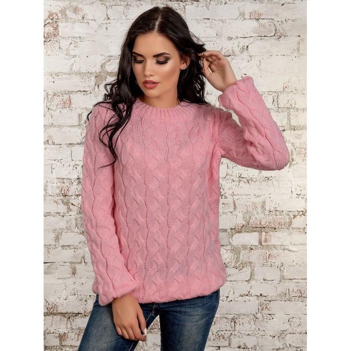 Нежный свитер джемпер розового цвета косичка, 42-46