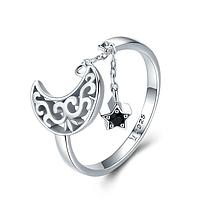 Кольцо серебряное женское с подвеской Лунная Соната WOSTU Стерлинговое Серебро 925