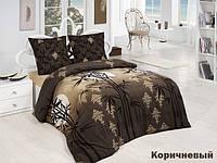 """Трикотажное постельное бельё с простыней на резинке """"ACELYA"""" бамбук коричневый"""