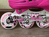 Детские Ролики+Шлем+Защита Scale Sport. Pink,  роликовые коньки детские, Розовые, размер 29-33, 34-37, фото 4
