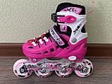 Детские Ролики+Шлем+Защита Scale Sport. Pink,  роликовые коньки детские, Розовые, размер 29-33, 34-37, фото 8
