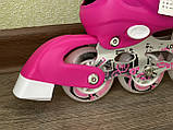 Детские Ролики+Шлем+Защита Scale Sport. Pink,  роликовые коньки детские, Розовые, размер 29-33, 34-37, фото 6