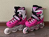 Детские Ролики+Шлем+Защита Scale Sport. Pink,  роликовые коньки детские, Розовые, размер 29-33, 34-37, фото 2