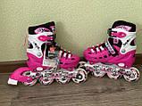 Детские Ролики+Шлем+Защита Scale Sport. Pink,  роликовые коньки детские, Розовые, размер 29-33, 34-37, фото 7