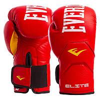 Перчатки боксерские кожаные EVERLAST ELITE Натуральная кожа На липучке Красные (СПО MA-6758) 10 унций, фото 1