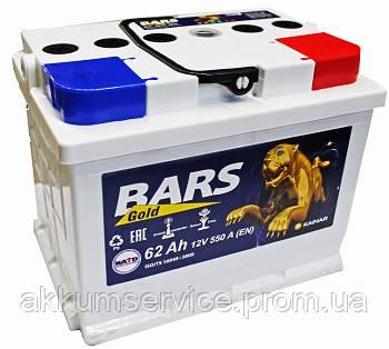 Аккумулятор автомобильный Bars Gold 62AH L+ 550A