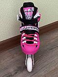 Детские Ролики+Шлем+Защита Scale Sport. Pink,  роликовые коньки детские, Розовые, размер 29-33, 34-37, фото 9