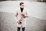 """🔥 Пальто мужское осеннее демисезонное теплое кашемировое Pobedov Coat """"BATYA"""" светлое молочное, фото 4"""