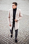"""🔥 Пальто мужское осеннее демисезонное теплое кашемировое Pobedov Coat """"BATYA"""" светлое молочное, фото 2"""