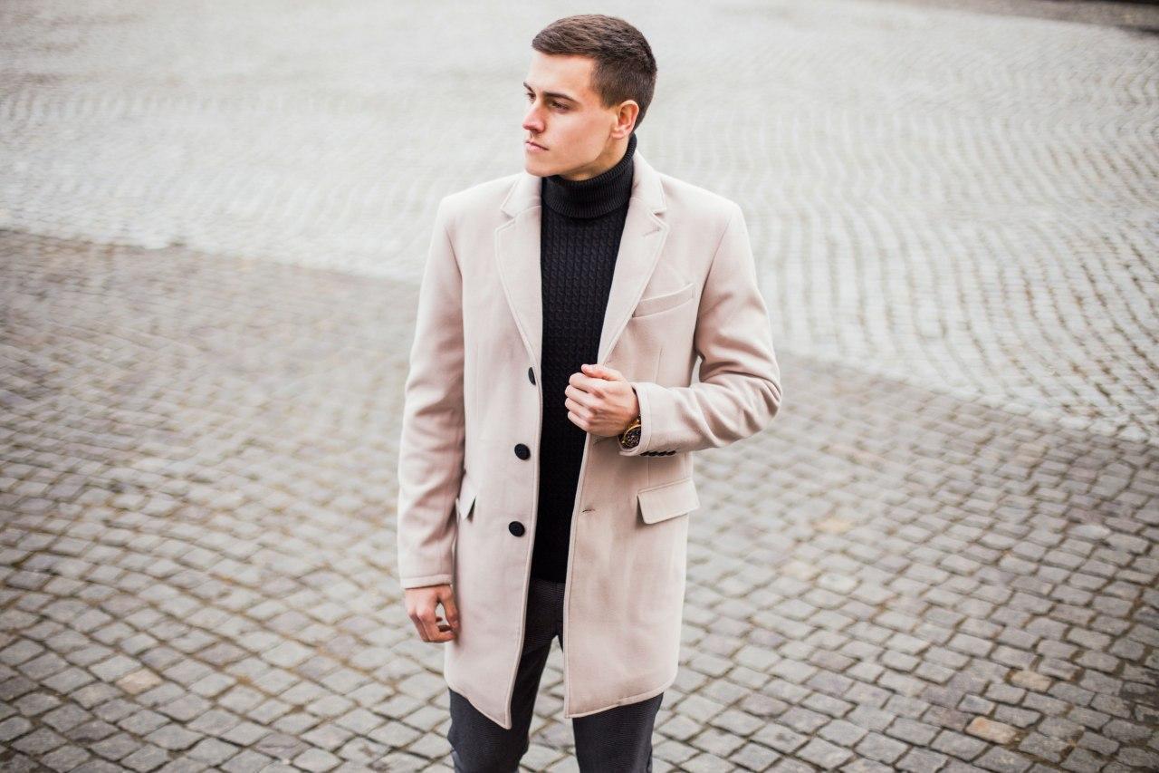 """🔥 Пальто мужское осеннее демисезонное теплое кашемировое Pobedov Coat """"BATYA"""" светлое молочное"""