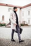 """🔥 Пальто мужское осеннее демисезонное теплое кашемировое Pobedov Coat """"BATYA"""" светлое молочное, фото 5"""