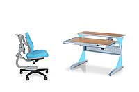 Парта HARVARD KD-333 Бук без кабинета голубые вставки + стул KУ-918 triangular chair  comf pro blue, фото 1
