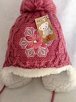 Зимняя меховая шапка для девочки с цветком