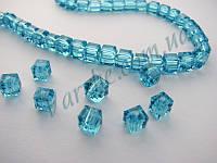 Хрустальная бусина, куб, голубая, 6х6 мм