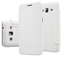 Шкіряний чохол Nillkin Sparkle для Samsung Galaxy J2 Duos J200 білий, фото 1