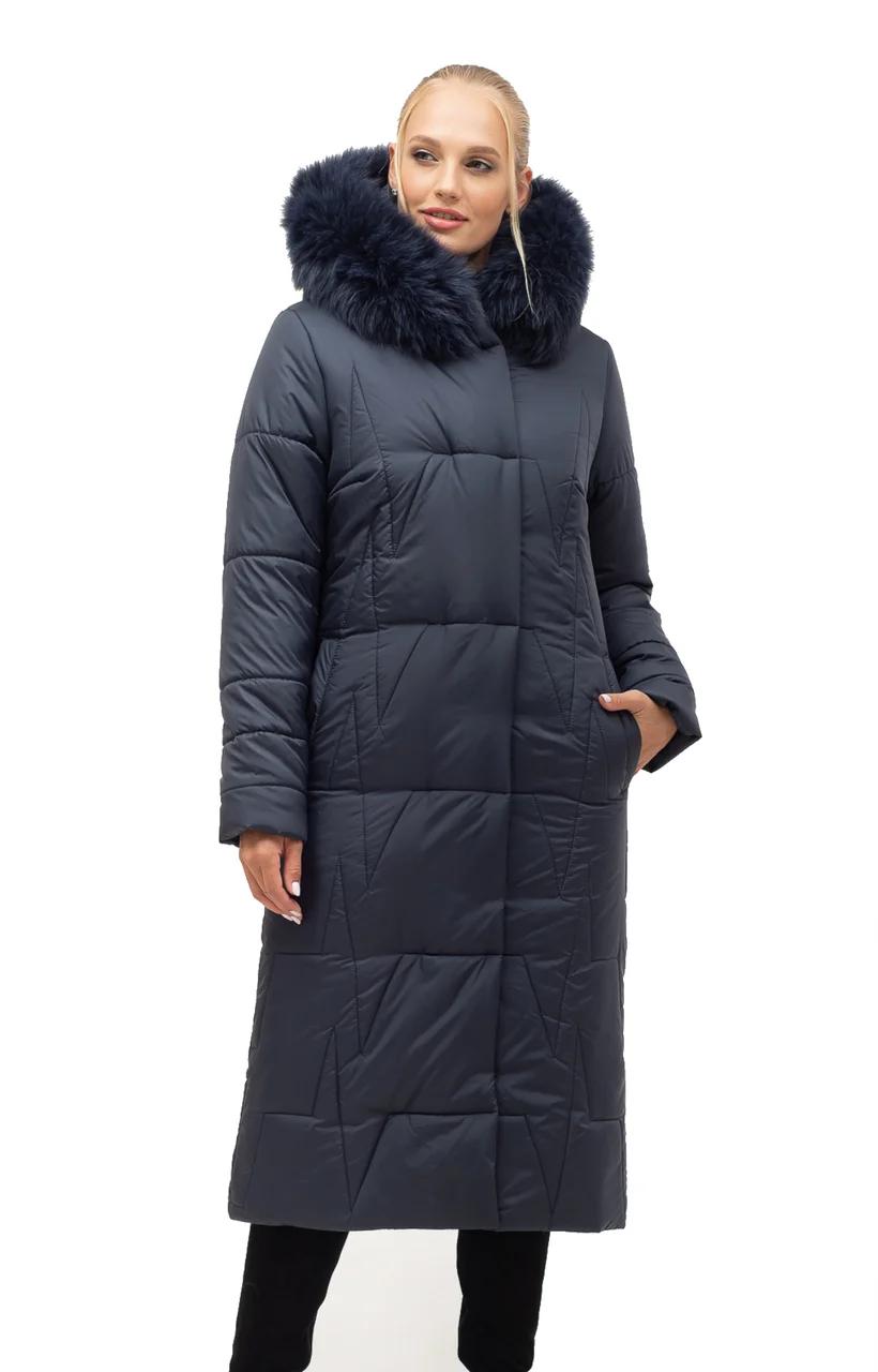 Зимові Пуховики жіночі великого розміру 46-56 синій песець