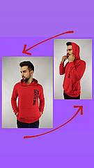 Батник мужской красный с капюшоном BA0303, двунитка, S, M, L, XL, XXL