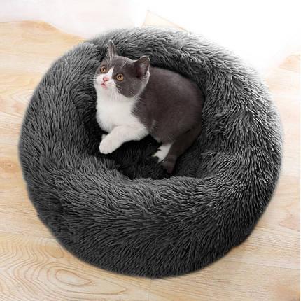 Подушка-лежак Taotaopets 552201 XL Dark Grey пуфик для котов собак круглый, фото 2