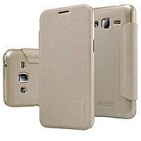 Шкіряний чохол Nillkin Sparkle для Samsung Galaxy J2 Duos J200 золотистий, фото 1