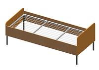 Кровать на металлическом каркасе из ДСП для общежитий, хостелов, больничных палат и баз отдыха